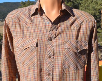vintage 70s plaid shirt WESTERN brown button down campus tapered Medium 15 Small