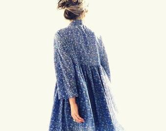 Liberty Silk Crepe Navy, Blue Flowery Short Dress