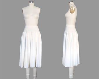 Soft Cashmere Midi Length Ballerina Skirt Sz 14 / Cream Ribbed A-Line Sweater Skirt