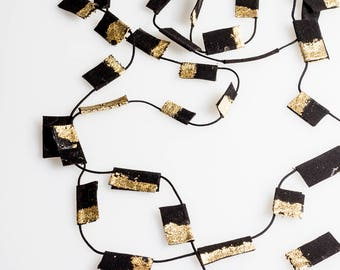 Long Gold and Black Necklace, Textile Gold and Black Necklace, Three Strand Necklace, Textile Jewelry