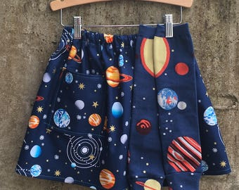 Solar System Print Girls Cotton Skirt with Pocket and Leg Warmer Set - Fun Space Theme for Baby, Toddler, Big Kid - Great Birthday Gift