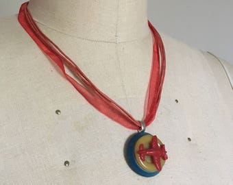 Handmade Airplane Button Pendant & Necklace
