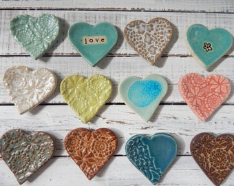 Dozen - Assorted Ceramic Hearts - Wedding favors - Shower Favors - Coffee Spoon Rests - Ring Holder- Trinket dish- Tea Bags- set of 12 heart