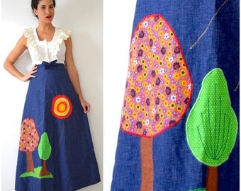 FLASH SALE / 20% off Vintage 70s Two Trees Appliqued Denim Chambray A Line High Waisted Wrap Around Maxi Skirt