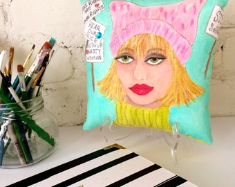 GLORIA EMPOWERED WOMAN, hand painted pillow, pink pussy hat, women's march, aqua, soft pink, citron green, gift for her, desk, one of a kind