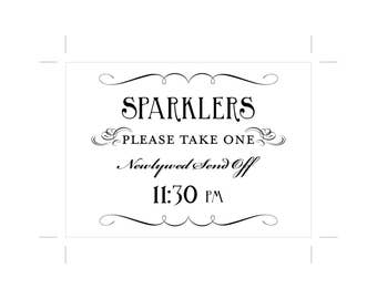 Sparkler Send Off Sign Printable 11:30pm DIY Digital File PDF Favor Signage Wedding Do it Yourself 8x10 and 5x7 Fancy