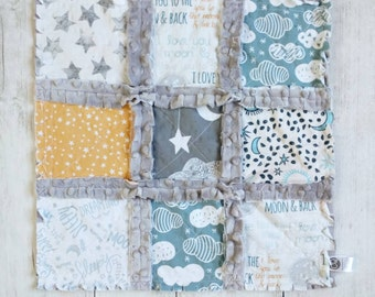 Moon and Stars Minky Rag Quilt Lovey - I Love You To The Moon And Back Lovey - Moon Stars and Clouds Gift - Gender Neutral Baby Gift