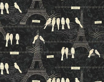 FAT QUARTER -  Love Paris, Black Cream, Birds, Eiffel Tower, Cotton Print, Black by David Textiles 100% Cotton -  SALE