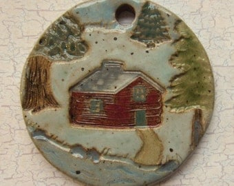 Custom Large Handmade Clay Pottery Pendant Charm or Ornament - Choose Shape and Color - CABIN SCENE