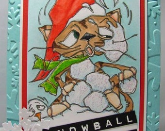 1144 Snowballed Kitty Digi Stamp