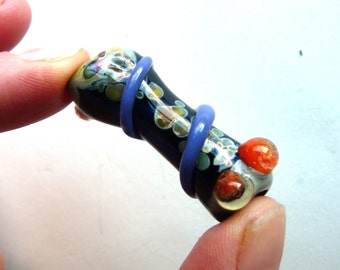 Lampwork Glass Bead - Handmade Focal - Curved - Toasted - Blue Orange Raku