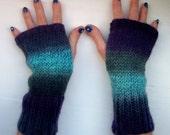 Hand warmers, wool. knit, warm, fingerless gloves, purple, blue, turquoise, longer style