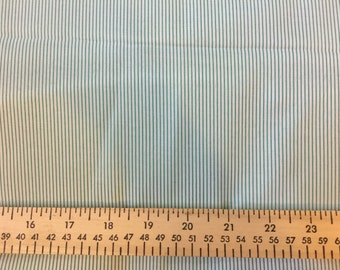 """Fabric Destash skinny green and white stripe synthetic shirting 3 yards at 58"""" wide"""