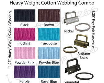 5 Yards Cotton Webbing Heavy Weight / 10 Key Fob Hardware Combo - 1.25 Inch - Plus Instructions - SEE COUPON