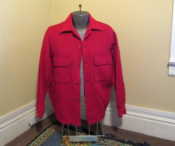 Vintage Boy Scout Jacket 50s Red wool coat Wool vintage jacket Boy Scouts of America offical Jacket M