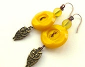 Holiday Jewelry Sale Mustard Yellow Vintage Buttons with Owls Dangle Earrings