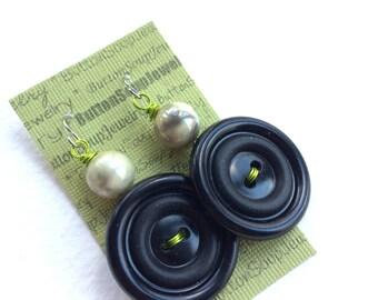 Bold Black Vintage Button Earrings