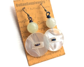 Snow White Vintage Button and Bead Earrings