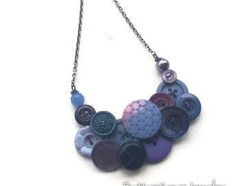 Chunky Long Vintage Button Necklace in Purple Periwinkle Blue