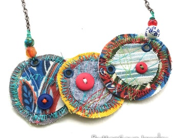 Large OOAK Statement Art Necklace - Colorful Stitched Fabric Bib with Vintage Buttons