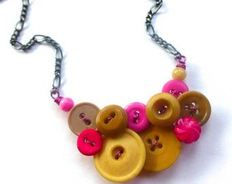 Summer Sale Tan and Hot Pink Button Necklace