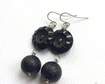 Black Orb Vintage Button Dangle Earrings
