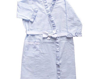 Blue/White Ruffled Seersucker Robe and Dressing Gown - Custom Embroidered