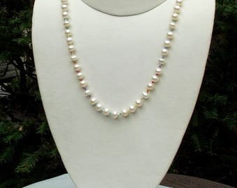 Cultured freshwater pearl LGBTQ necklace hand knotted on silk 19 1/4 inches
