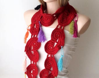 RED Heart Scarf, Colorful Tassel Scarf, Crochetting, long,hearts