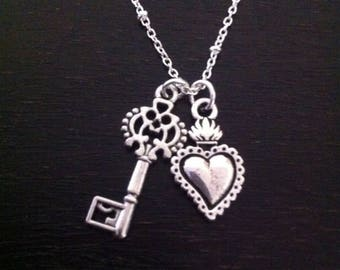 Flaming Heart Necklace ~   Key To My Heart Jewelry ~ Sacred Milagros Heart ~ You Hold The Key to my heart