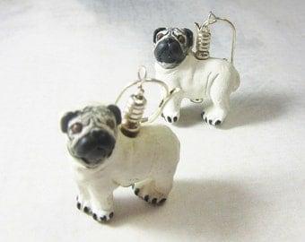 pug earrings - pug life - pug dog jewelry - pug dog earrings - love the pug