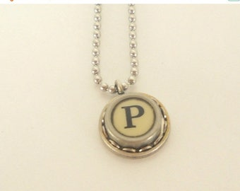 SALE Typewriter Key Necklace, Letter P , Vintage, Initial Jewelry,  All Letters Available, Typography Jewelry,