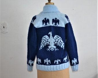 Cowichan sweater Handknit  blue Cowichan Cardigan  Eagle