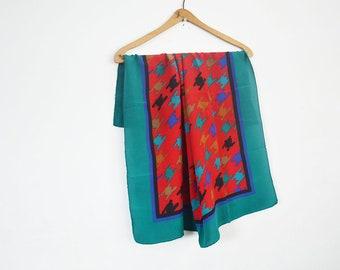 Vintage square silk scarf,Bill Blass silk scarf