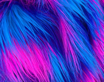 Cyber Pop -  quality dense blue pink and purple multi tonal fluffy synthetic fur fabric -1m piece