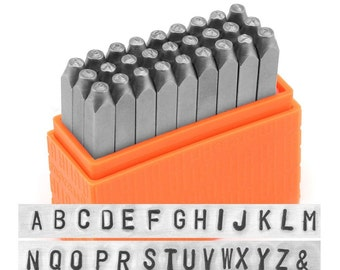 """NEW - Basic UPPERcase Sans Serif Block/Gothic Font by ImpressArt - 3/32"""" (2.5MM) size - includes tutorial for how to stamp metal"""