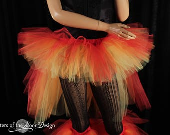 Phoenix Fire Tutu skirt Adult hi low bustle back flame rave dance club wear costume halloween roller derby - All sizes - Sisters of the Moon