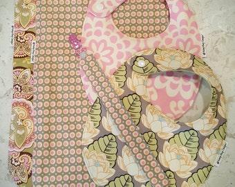 Baby Girl Gift Set - 2 Designer Bibs, 2 Contoured Burp Cloths, FREE Pacifier Clip, coordinating gift set in Amy Butler prints