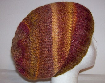 Wool/Acrylic Hipster Beanie - Slouchy Knit Hat - Knitted Hipster Toque - Hand Knit Hat - Mesa