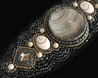 Cosmos Couture Cuff with Jupiter Drusy, Spiral Galaxy Shell, White Jade, Aquarius, Antique beads, Boho chic
