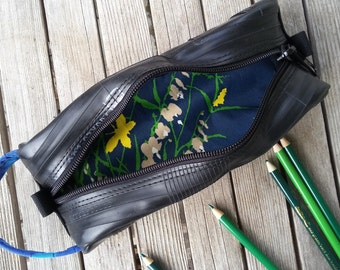 Pencil Case - vegan bag made from recycled bike tubes