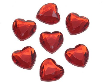 12mm No Hole Flat Back Red Heart Acrylic Rhinestones