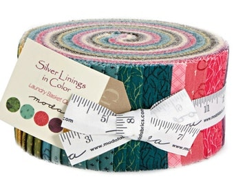 """SALE 30% Off Moda Silver Linings In Color Jelly Roll 2.5"""" Precut Fabric Quilting Cotton Strips 42261JR"""