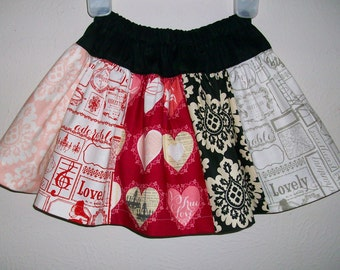 Valentines Day Skirt Twirl Skirt Girls Skirt for Valentines Day Riley Blake Lost & Found Paris toddler skirt with Hearts Ready to Ship 2t