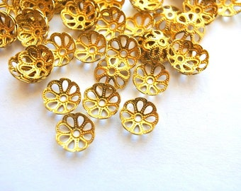 25 VINTAGE flower cap beads, metal lace design 9mmx2.5mm height