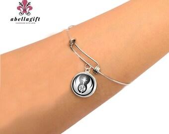Jedi Monogram Bracelet, Personalized Expandable Charm Bracelet, Adjustable Bangle