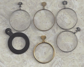 6 Vintage Optical lenses.. brass and silver.. Steampunk set