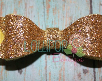 Gold Glitter Felt Hair Bow ~ Gold Glitter Hair Bow ~ Felt Hair Bow ~ Hair Bow