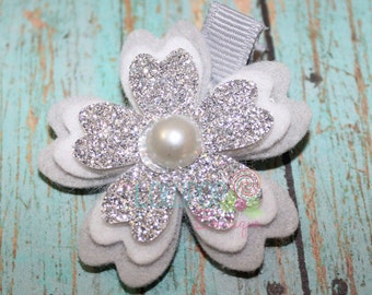 Grey and Silver Glitter Cherry Blossom, Flower Clip, Felt Flower Clip, Girls Hair Clip, Cherry Blossom