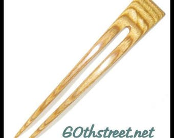 2 Prong 5 1/2 inch Emily Style Hair Fork made of Bermuda Lemonwood Dymondwood - 6123EM